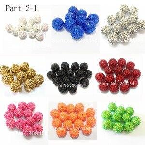 Image 1 - Część hurtowa 2 1, masywne żywiczne koraliki RhinestoneBall dla mody Chunky biżuteria