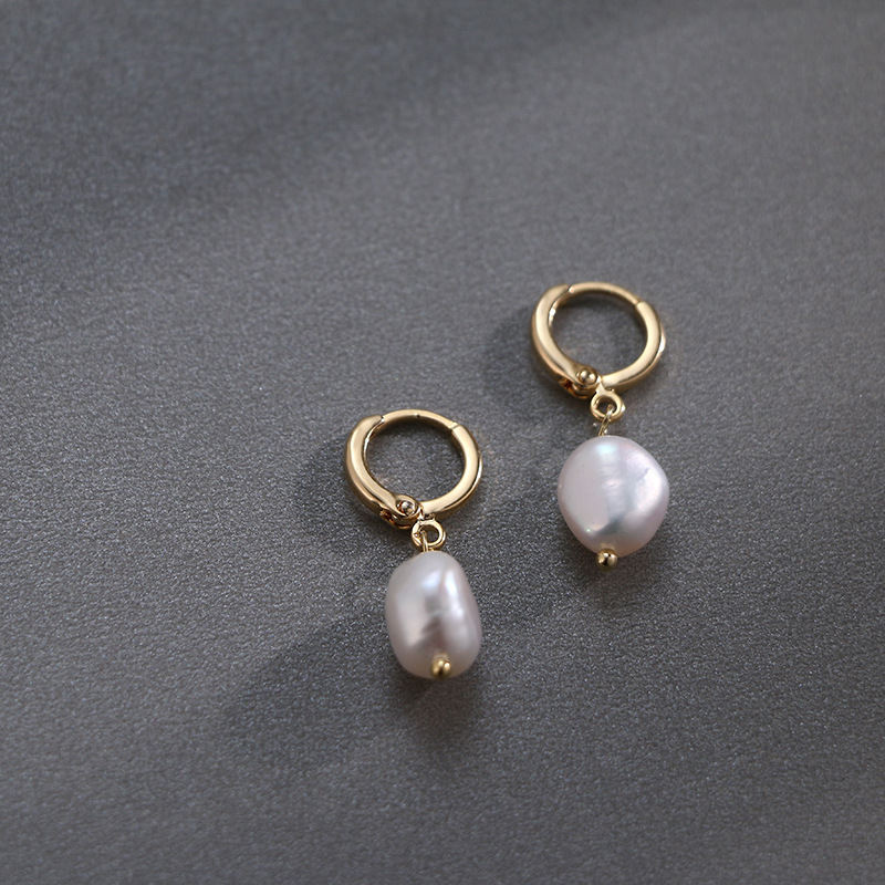 HTB16 RzaffsK1RjSszbq6AqBXXaw - Pearl earrings for Women 14KGF Earrings White natural 100% Freshwater pearl jewelry wedding party Girl gift