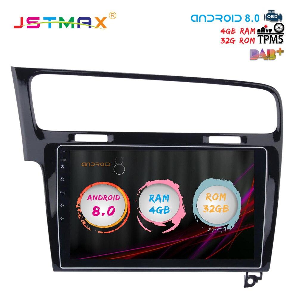 JSTMAX 10.2 Android 8.0 dvd de voiture pour VW Golf 7 2013 2014 2015 2016 2017 GPS navi Octa Core 4 GB 32 GB Auto Stéréo headunit (PAS de dvd