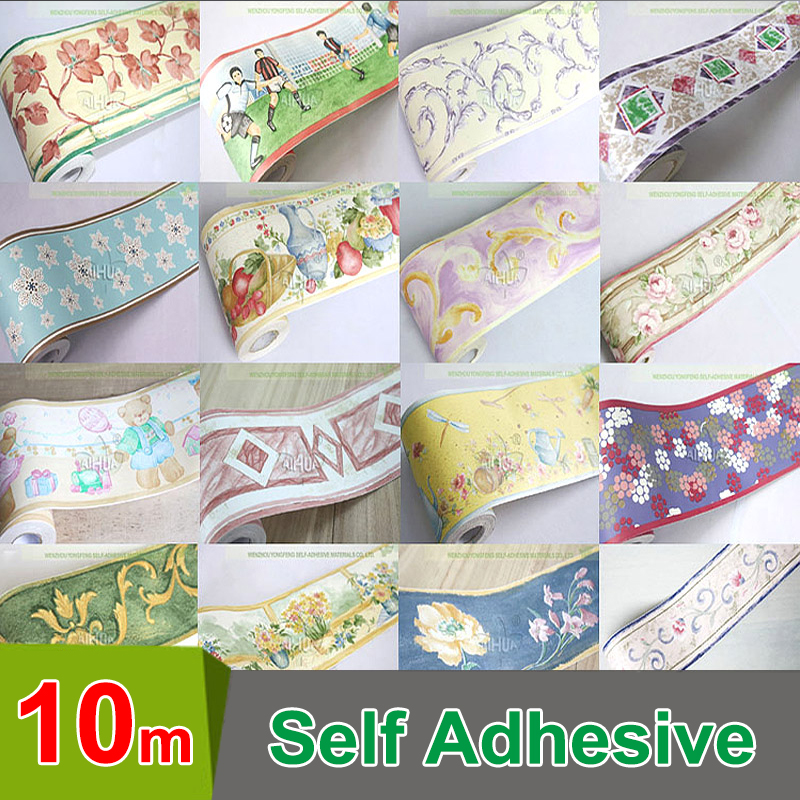 10Meter Fashion Self Adhesive Baseboard Waterproof Bathroom Waistline Border Rustic Tile Wall Stickers Vintage Wallpaper Borders