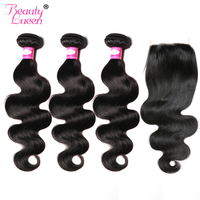 Raw Indian Body Wave Human Hair Bundles With Closure Hair Weave 3 Bundles With Closure 4x4