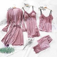 Pajamas Womens Autumn Gold Velvet Four Piece Suit Long Paragraph Robe Harness Set With Chest Pad Velvet