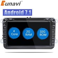 "Eunavi 2 Din 8"" Quad core Android 7.1 8.1 car dvd for VW Polo Jetta Tiguan passat b6 cc fabia mirror link wifi Radio CD in dash"