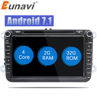 Eunavi 2 Din 8 ''Quad core Android 7,1 8,1 dvd для VW Polo Jetta Tiguan passat b6 cc fabia Зеркало Ссылка Wi Fi Радио CD в тире