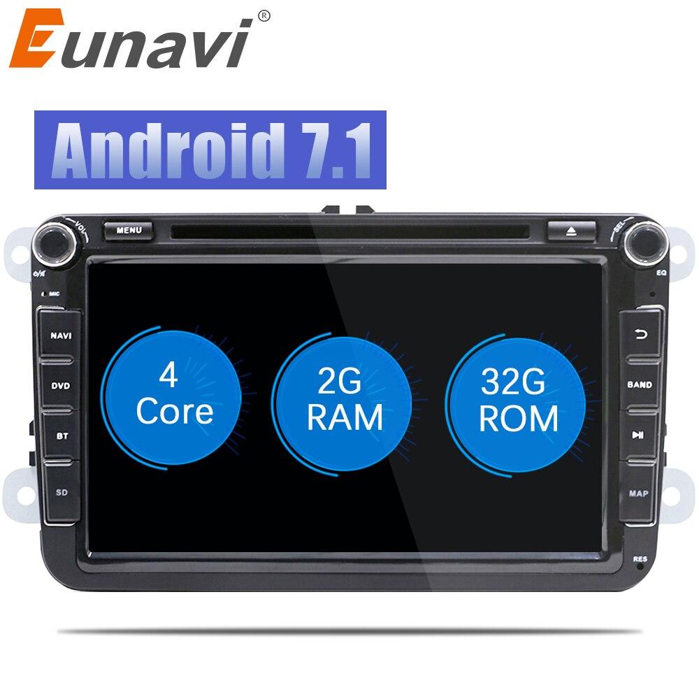 Eunavi 2 Din 8 ''Quad core Android 7.1 8.1 dvd de voiture pour VW Polo Jetta Tiguan passat b6 cc fabia miroir lien wifi Radio CD au tableau de bord