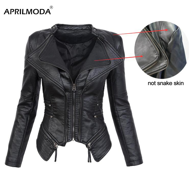 Hip Hop PU Leather Jacket Plus Size Leather Jacket Women Autumn Winter Motorcycle Hooded Black Faux Long Sleeve PU Leather Coat