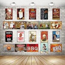 Dads BBQ Tin Signs  Metal Plate Wall Pub Kitchen Restaurant Home Art Decor Vintage Sticker Cuadros DU-2071