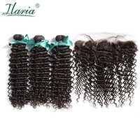 ILARIA HAIR Malaysian Curly Hair 3 Bundles With Closure 100% Curly Human Hair Bundles With 13x4 Lace Frontal Closure Pre Plucked