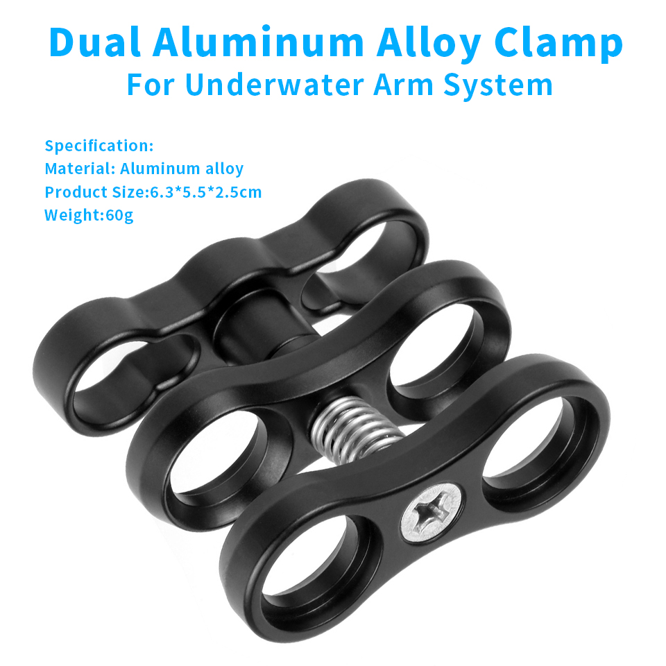Aluminum Alloy Diving Lights Ball Butterfly Clip Arm Clamp Mount for GoPro Hero 7 6 5 4/ Xiaoyi/ Sjcam Sports Camera Accessory