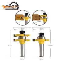 CMCP 2Pcs Matched Tongue Groove Router Bit 1 4 Stock 1 2 Shank 3 Teeth T