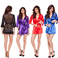 Sexy women's Plus Size M XL XXL XXXL Nightwear Robes Free Shipping Ladies Nightwear Bathrobes Mini Satin Silk Lace Indoor Wear