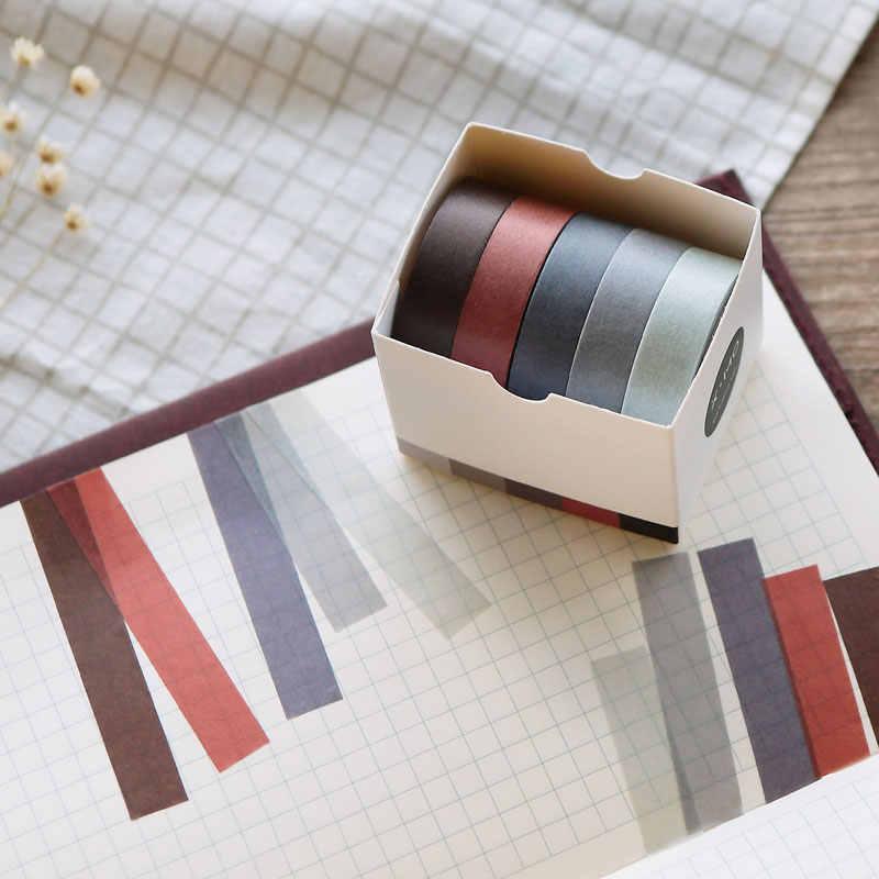 5X DIY Dekoratif Scrapbook Masking Tape Warna Solid Kertas Tape Washi Tape Stationery Sticker Label Kantor Pita Perekat