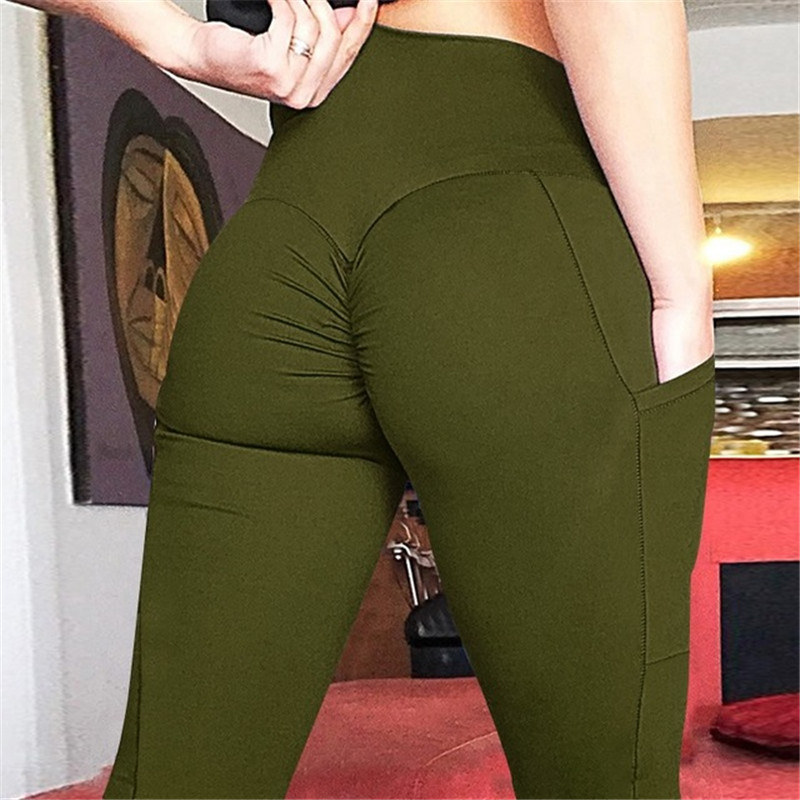 SVOKOR Sexy Women's Leggings Stretchy High Waist Legging Back Ruched Butt Lift Pants Hip Push Up Workout Mujer