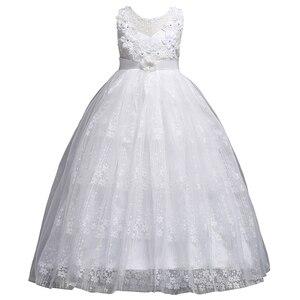 Image 2 - プリンセスロングレースのフラワーガールのドレスアップリケ子供フォーマルドレス初聖体結婚式パーティーガウン