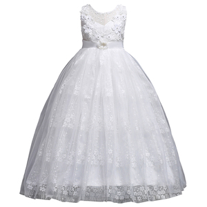 Image 2 - Princess Long Lace Flower Girl Dresses Applique Girls Pageant Dresses First Communion Dress Kids Wedding Party Gown