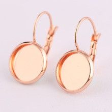 reidgaller 10pcs rose gold stainless steel lever back earring findings 12mm cabochon earring base blanks diy bezel settings 10pcs fit 12mm stainless steel cameo glass cabochon metal bezel french lever blank base earring back for diy jewelry findings