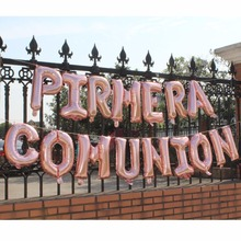 1st first holy Communion christening baptism Primera comunion decoration banner rose gold silver foil balloons bunting
