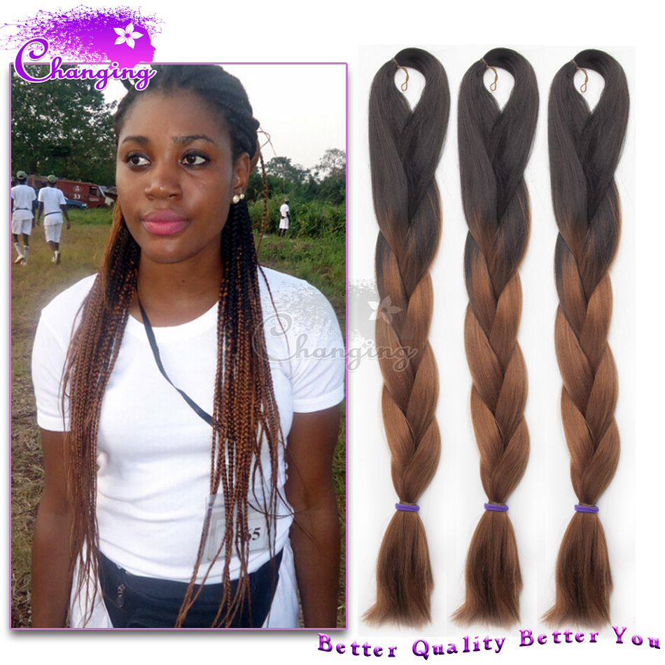 24 Quot Black Brown Braiding Hair 100g Pc Two Tone Xpressions
