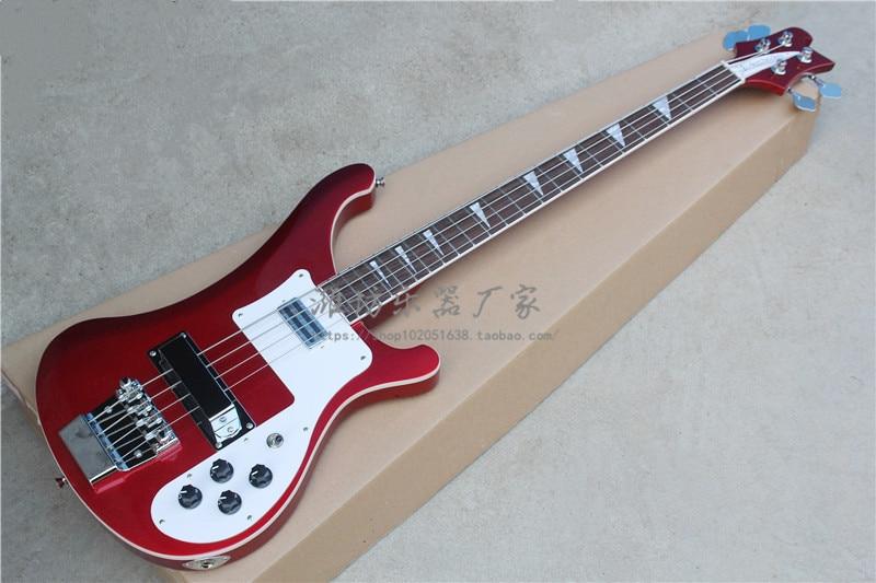 Rouge et rouge rafale et noir usine personnalisé Rickenback personnalisé 4003 firglo 4 cordes basse guitare ricken basse