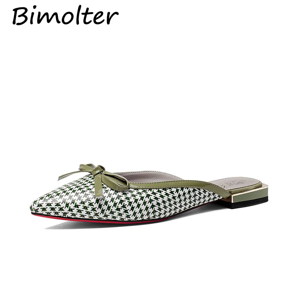 Bimolter Genuine Leather Flat Shoes Woman Cow Leather Slippers Spring - Women's Shoes
