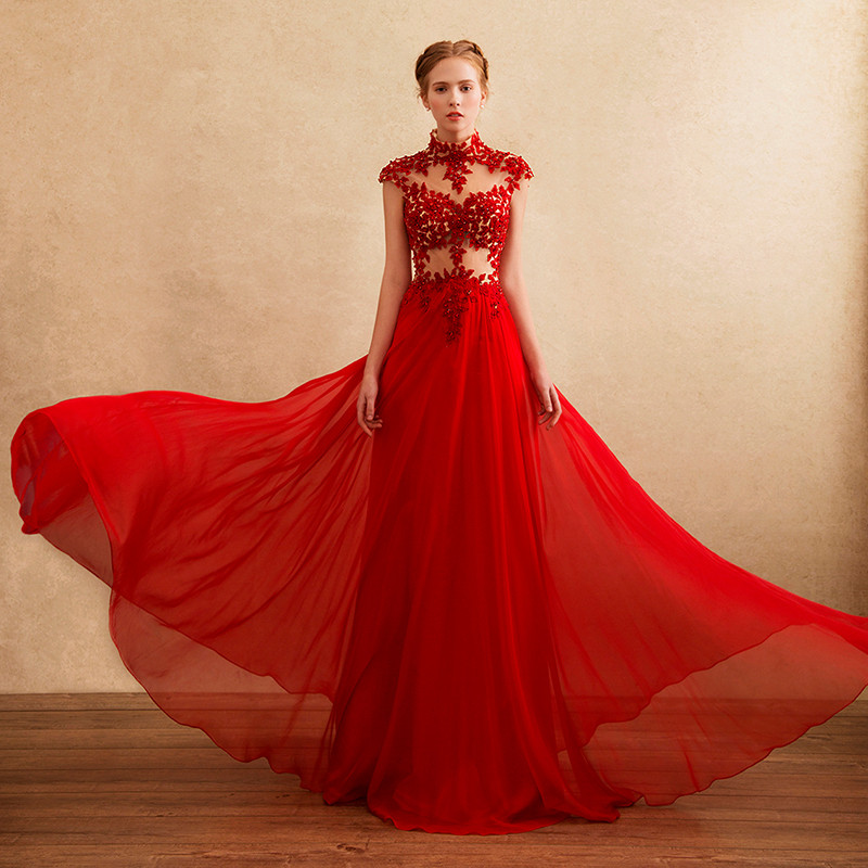 Vestidos Prom Chiffon Lace Appliques Evening Formal High Neck Robe De Soiree 2018 Sexy See Through Mother Of The Bride Dresses
