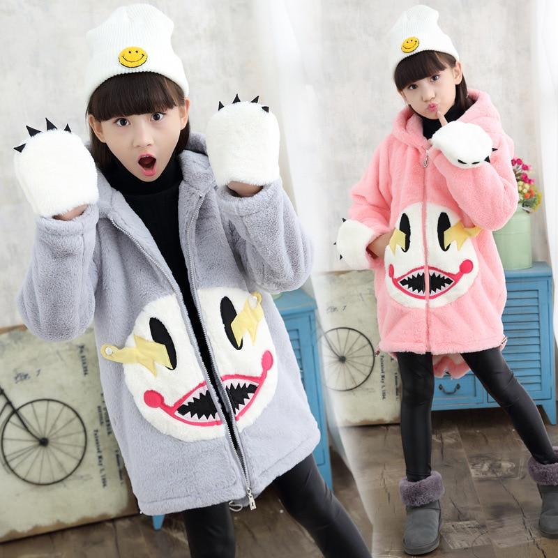 New Arrival Girls Winter Jacket Children Cartoon Animal Print Fleece Coat Baby Girls Hooded Outerwear Winter