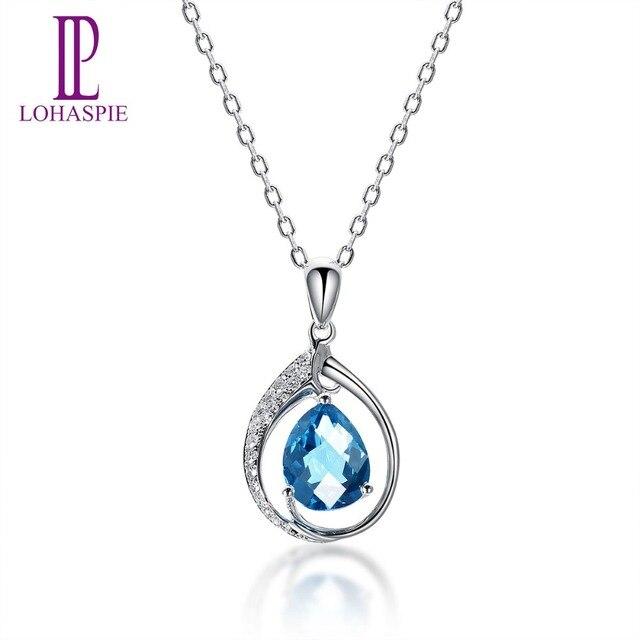 ab7393b1a4c7 LP de diamantes de la joyería sólido 14 K oro blanco Natural Topacio Azul  de Londres