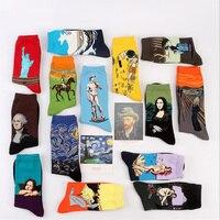 Fashion Art Cotton Crew Printed Socks Painting Character Pattern Women Men Harajuku Design Sox Calcetine Van Gogh Novelty Funny
