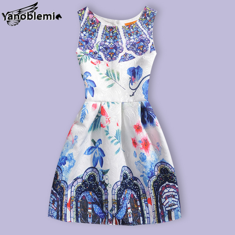 New Fashion Brand Girls Dress Baby Children Cute Palace Floral Print Vest Dresses Kids Teenage Princess
