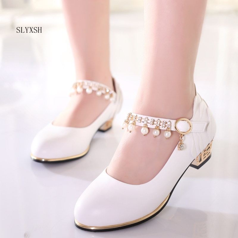 SLYXSH Girls Princess Shoes Leather Pearl bright diamond Children High Heel Shoes For Girls Shoe Party Wedding Dress Kids Shoes SLYXSH Girls Princess Shoes Leather Pearl bright diamond Children High Heel Shoes For Girls Shoe Party Wedding Dress Kids Shoes