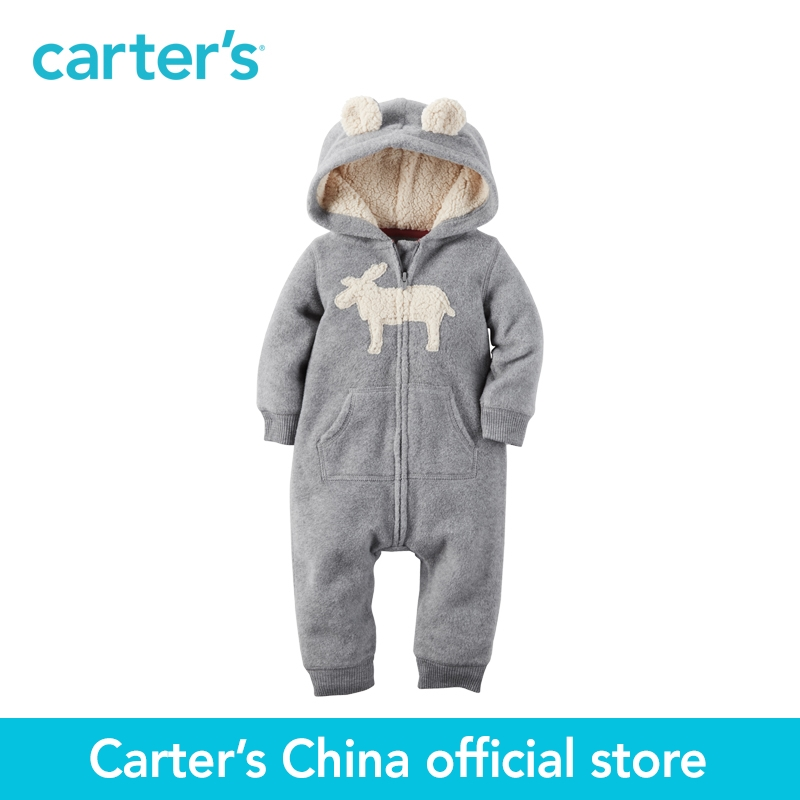 Carter's 1pcs baby children kids Hooded Fleece Jumpsuit 118G705,sold by Carter's China official store  carter s 1 pcs baby children kids long sleeve embroidered lace tee 253g688 sold by carter s china official store