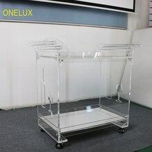 Зеркальный акрил Lucite Бар корзину на Колёса, Прокат сервировочная тележка с зеркалом подносы-KD упакованы