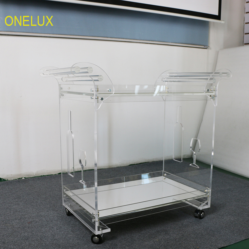 Зеркальная акриловая люцитовая барная корзина на колесах, роликовая сервировочная тележка с зеркальными лотками KD упакована