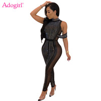 Adogirl Sheer Mesh Patchwork Diamonds Jumpsuit Turtleneck Sleeveless Off Shoulder Performance Club Party Outfits Women Romper