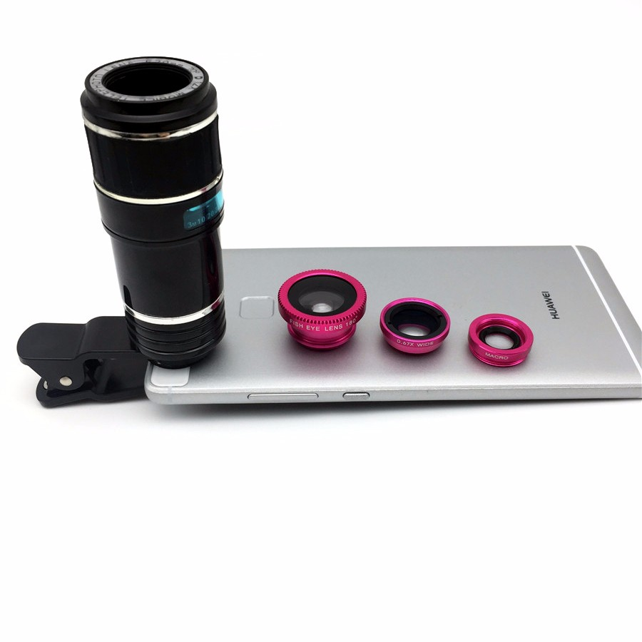Newest Mobile Phone Camera Lens Kits Fisheye lense Wide Angle Macro Lens 12X Zoom Camera Telephoto Lens For iPhone Samsung LG 4