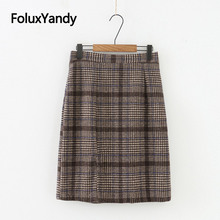 Korean Style Skirt Women Plus Size Slim Office Lady Plaid Woolen Pencil Skirt SWM1290