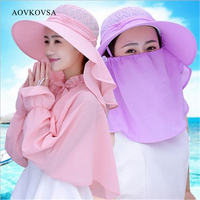 Fashion Summer Outdoor Ladies Hollow Top Sun Hat Women Anti UV Sunscreen Wrap Shawl Suits