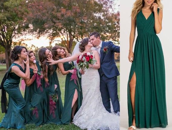 2019 nouvelle robe de demoiselle d'honneur vert chasseur, robe de demoiselle d'honneur en mousseline de soie, longues robes de demoiselle d'honneur, robe maxi vert chasseur
