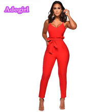 Solid Stripes Strapless Plunging V-neck Women Elegant Sleeveless Backless Rompers Summer Casual Outwear Bodycon Overalls Female