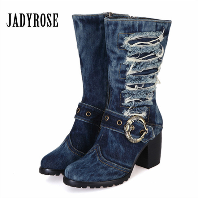 3a13d884bff US $66.64 32% OFF|Jady Rose 2019 Winter Warm Boots Women Denim Boot  Platform Chunky High Heel Botas Mujer Jean Riding Boots Shoes Woman Size  42-in ...