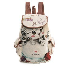 Casual Canvas School Backpack Women Lovely Cat Printed Hasp Backpack Teenager Large Capacity Ladies School Bag 2019 Fashion casual women s backpack with canvas and printed design