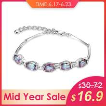 JewelryPalace 2.5ct Natural Rainbow Mystic Topaz Quartz 925 Sterling Silver Tennis Bracelet Women Fine Gemstone Jewelry Gifts(China)