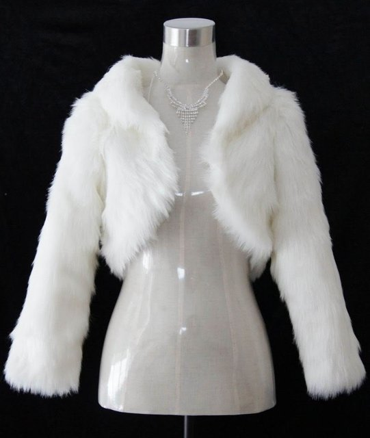 Free shipping Wholesale - Ivory Faux Fur Wedding Shawl Wrap Jacket Coat Scarves
