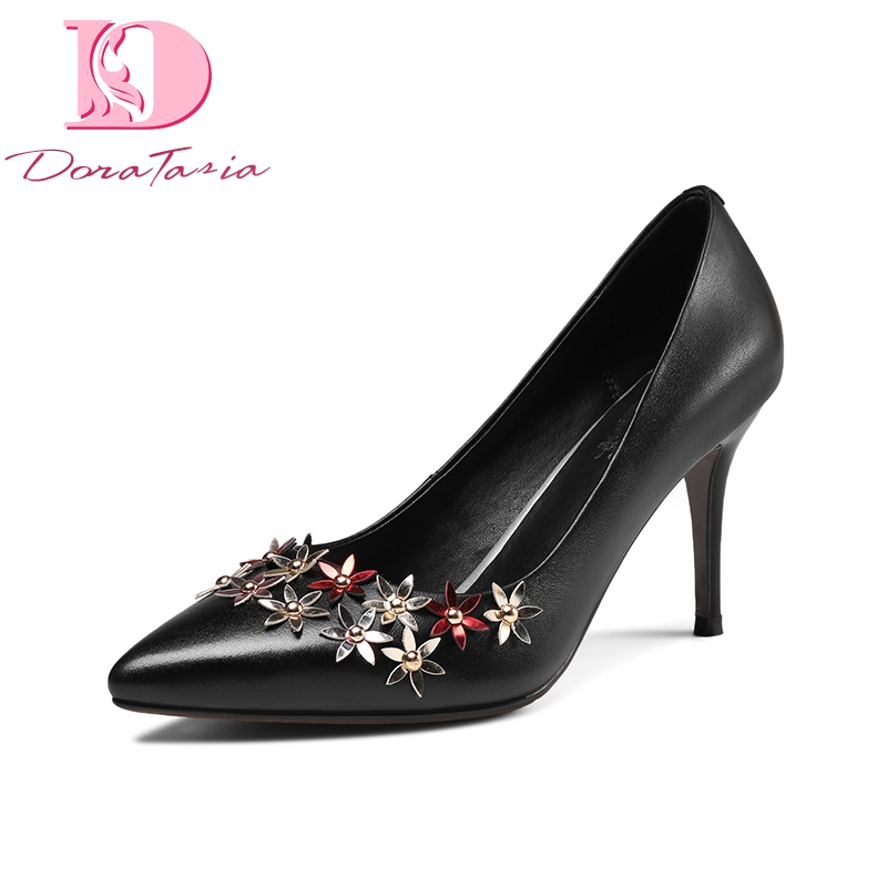 DoraTasia 2018 Spring autumn elegant genuine leather women flower pumps fashion lady ol high heels shallow shoes woman siketu 2017 free shipping spring and autumn women shoes fashion sex high heels shoes red wedding shoes pumps g107