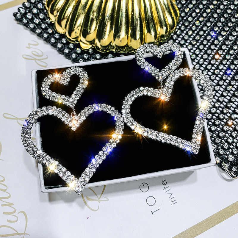 DREJEW ขนาดใหญ่ Lover หัวใจเงินต่างหู 2019 925 คริสตัล Drop ต่างหูสำหรับเครื่องประดับงานแต่งงานของผู้หญิง HE397