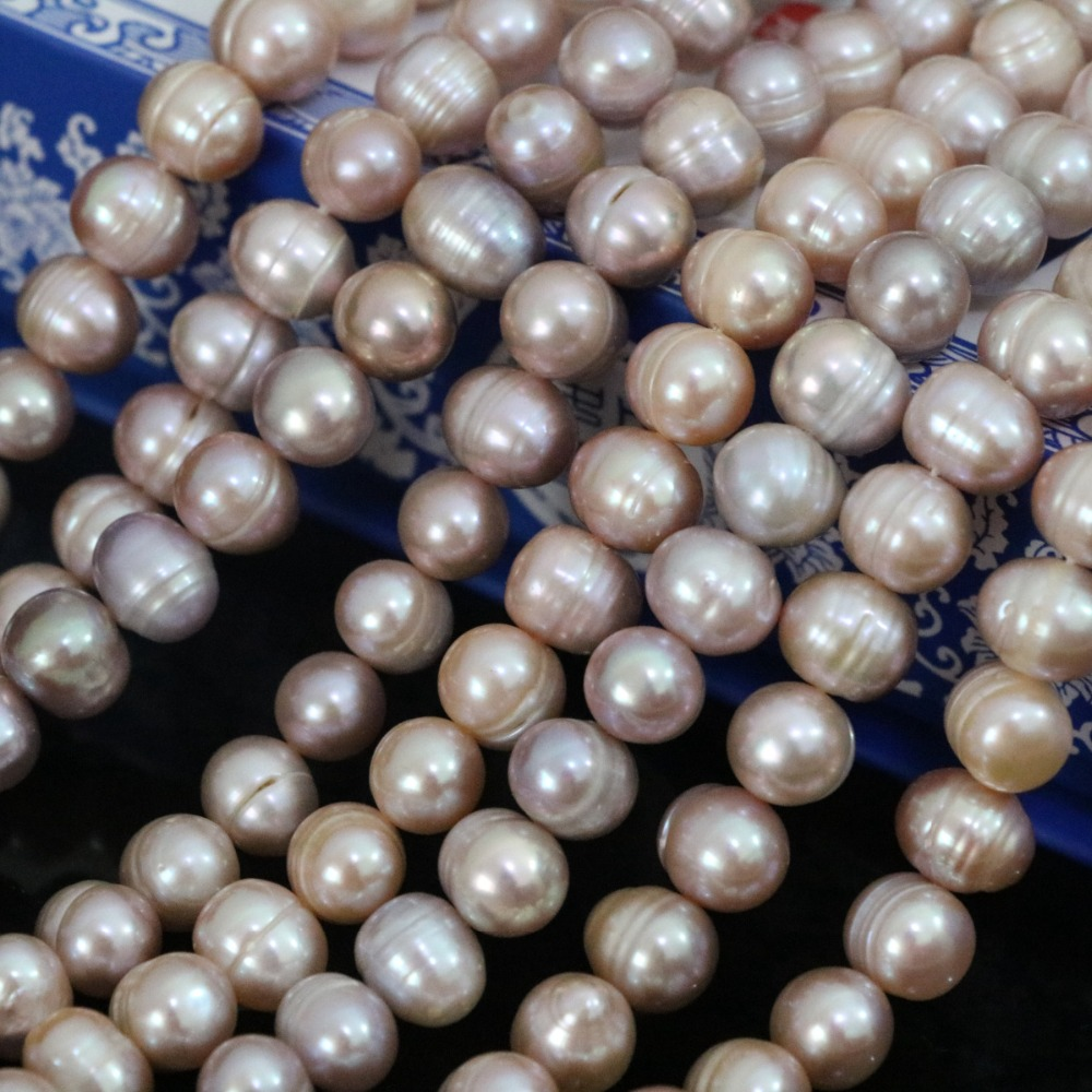 Purple natural freshwater cultured round pearl 9-10mm fashion women jewelry making wholesale retail loose beads 15inch B1379