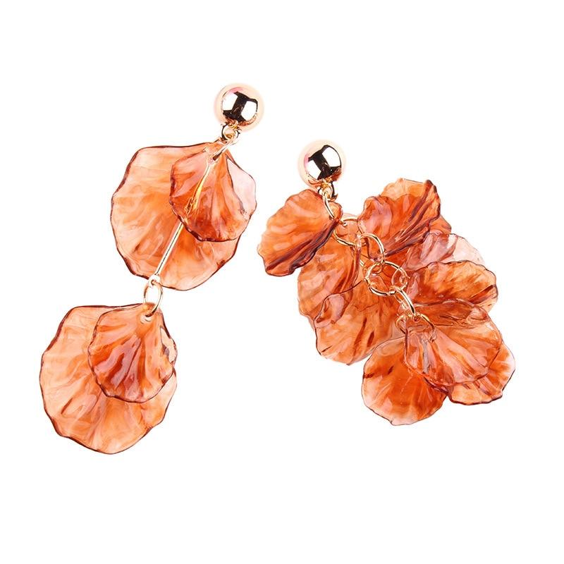 QCOOLJLY 1 Pair Elegant Women Vintage Acrylicl Asymmetric Design Orange Flower Leaf Drop Long Dangle Earrings Bohemia Jewelry