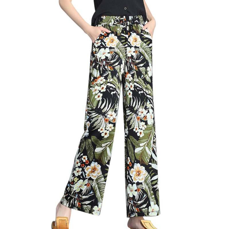 Women Floral Print Wide Leg Pants  High Waist Chiffon Trousers Long Casual Pant Summer Boho Beach Elastic Girl
