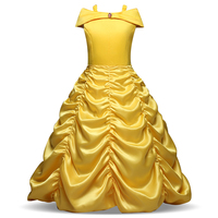 Mädchen Cartoon Kleid Kinder Schulterfrei Gelb Phantasie Kleid Kinder Cosplay Prinzessin Kostüme Party Kleid Mädchen Disguise Langes Kleid