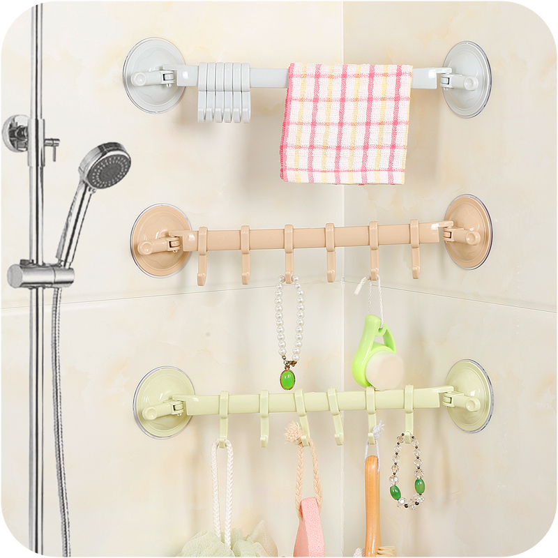 Aliexpress.com : Buy Home Creative Wall Mounted Sucker Bathroom Shelf With  6 Hooks Wall Rack Towel Holder Hanging Bathroom Accessories From Reliable  ...
